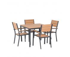 Conjunto de jardín en aluminio - Mesa 95 cm - 4 sillas - Marrón - PRATO