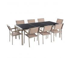 Conjunto de jardín - Granito pulido negro - Mesa 220 cm con 8 sillas beige - GROSSETO