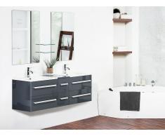 Mueble de baño con 2 lavados cerámicos y 2 espejos, gris MADRID