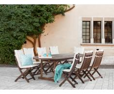 Conjunto de jardín de madera – Mesa – 8 sillas – Cojines en color beige - MAUI