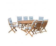 Conjunto de jardín en madera de acacia Mesa + 8 sillas cojines color azul claro MAUI