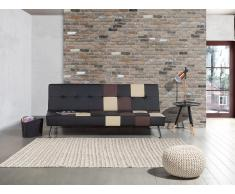 Sofá cama - Piel sintetica - Diseño de patchwork - Negro - OLSKER