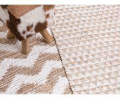 Alfombra de algodón, poliéster y yute - Beige - 80x150 cm - TUNCELI