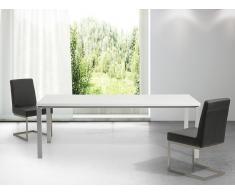 Mesa de comedor - Metal - Blanco y plateado - 220cm - ARCTIC II