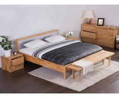Cama de madera - Somier 180 x 200 - Cabecero tapizado en gris - CARRIS
