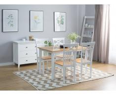 Mesa de comedor de madera blanca 120x75 cm HOUSTON