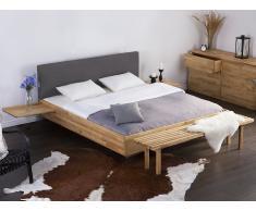 Cama de madera – Tamaño extra grande – Somier – Cabecero tapizado – Gris – ARRAS
