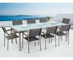 Conjunto de jardín - Vidrio templado - Mesa 220 cm con 8 sillas grises - GROSSETO