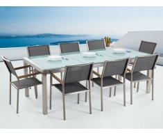 Conjunto de jardín mesa en vidrio 220 cm, 8 sillas grises GROSSETO