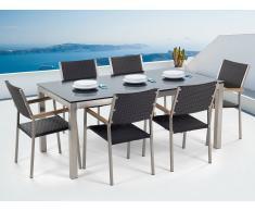 Conjunto de jardín - Vidrio templado negro - Mesa 180 cm con 6 sillas en ratán - GROSSETO