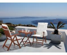 Conjunto de jardín de madera -Mesa - 2 sillas - Cojines en color beige - TOSCANA