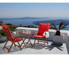 Conjunto de jardín de madera -Mesa - 2 sillas - Cojines en color terracota claro - TOSCANA