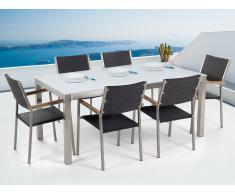 Conjunto de jardín - Vidrio templado blanco - Mesa 180 cm con 6 sillas en ratán - GROSSETO