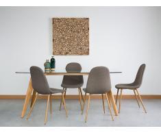 Conjunto de 2 sillas en madera con tapizado gris-marrón - BRUCE