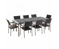 Conjunto de jardín - Granito curtido negro - Mesa 220 cm con 8 sillas en ratán - GROSSETO