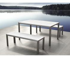 Conjunto de jardín en aluminio - Mesa 180 cm - 2 bancos - Polimadera blanca - NARDO