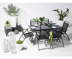 Conjunto de jardín en acero - Negro - Mesa y 6 sillas - LIVO
