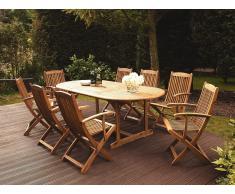 Conjunto de jardín en madera de acacia, Mesa + 8 sillas, MAUI