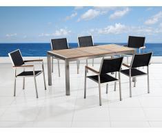 Conjunto de jardín - Tablero de madera - Mesa 180 cm con 6 sillas de tela - GROSSETO