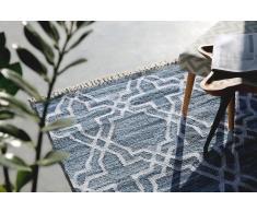 Alfombra de algodón - Azul - 140x200 cm - Hecha a mano - ADIYAMAN