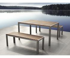 Conjunto de jardín en aluminio - Mesa 180 cm - 2 bancos - Madera sintética marrón - NARDO
