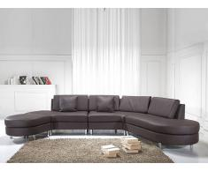 Sofá marrón - sofá esquinero - sofá de piel - 5 asientos - COPENHAGEN