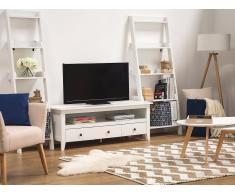 Mueble TV, blanco, 3 cajones, BERKELEY