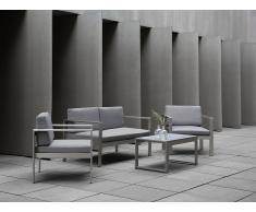 Conjunto de jardín en aluminio - Sofá, Mesa y 2 Sillas - Gris claro - SALERNO