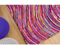 Alfombra de Algodón y Poliester - Multicolor - Pelo largo- 140x200 cm - KESAN