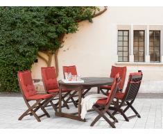 Conjunto de jardín de madera – Mesa – 6 sillas – Cojines en color terracota - MAUI