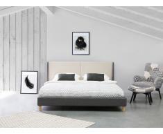 Cama tapizada en beige y gris 160x200 cm VALENCE