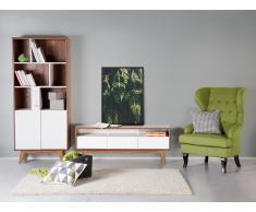 Cómoda - mueble TV - Mueble de salón en MDF - nogal y blanco - SYRACUSE