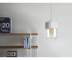 Lámpara colgante blanca y cristal transparente JURUA