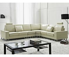 Sofá esquinero beis - sofá de piel - STOCKHOLM