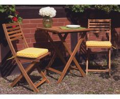 Conjunto de jardín de madera - Mesa - 2 sillas - Cojines amarillo - FIJI
