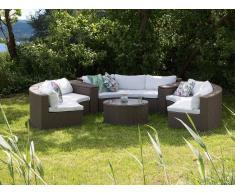 Sofá de ratán - Conjunto de jardín - Mesa de café - Marrón claro - SEVERO