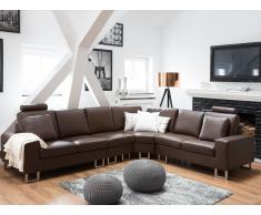 Sofá esquinero en piel marrón STOCKHOLM