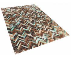 Alfombra - Piel - Patchwork - 80x150 cm - Marrón, azúl, beige - AMASYA