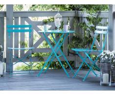 Conjunto de jardín en aluminio mesa y 2 sillas azul FIORI