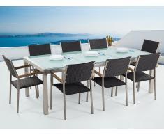 Conjunto de jardín - Vidrio templado - Mesa 220 cm con 8 sillas en ratán - GROSSETO