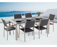 Conjunto de jardín mesa con tablero de piedra natural pulida negra 180 cm, 6 sillas en ratán GROSSETO