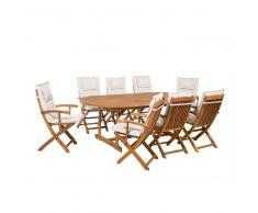 Conjunto de jardín en madera de acacia Mesa + 8 sillas cojines color beige MAUI