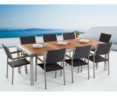 Conjunto de jardín mesa en madera 220 cm, 8 sillas en ratán GROSSETO
