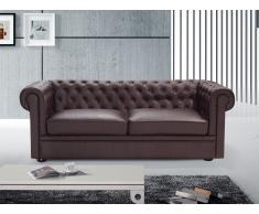 Sofá en piel color marrón CHESTER
