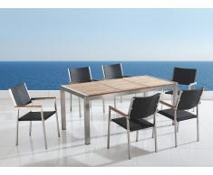 Conjunto de jardín - Tablero de madera - Mesa 180 cm con 6 sillas en ratán - GROSSETO