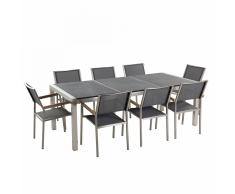 Conjunto de jardín - Granito flameado negro - Mesa 220 cm con 8 sillas grises - GROSSETO