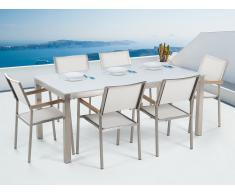 Conjunto de jardín mesa en vidrio blanco 180 cm, 6 sillas blancas GROSSETO
