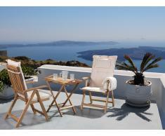 Conjunto de jardín de madera –Mesa – 2 sillas – Cojines en color crema – RIVIERA