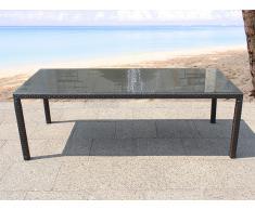 Mesa de ratán con tablero de vidrio - Mesa de jardín 160 cm - ITALY