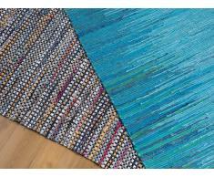 Alfombra - Algodón - 80x150 cm - Azul - MERSIN